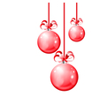 Christmas balls hanging with ribbon bows vector image