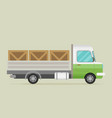 delivery truck with wooden boxes vector image