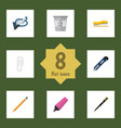 flat icon tool set of supplies knife fastener vector image