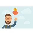 Man pointing the piggy bank icon vector image