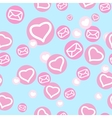 seamless texture with hearts and envelopes vector image