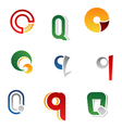 set of alphabet symbols and elements of letter q vector image