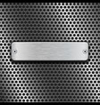 stainless steel brushed plate on blue metal vector image