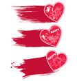 set of 3 red hearts with watercolor style strokes vector image vector image