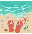 flip flops on the shore vector image