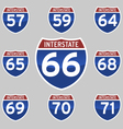 INTERSTATE SIGNS 57-71 vector image