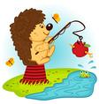 hedgehog fishing vector image