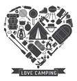 Love Camping Outline Concept Heart vector image
