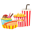 lunch set with hotdog and popcorn vector image