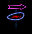 neon cinema banner and arrow on a dark background vector image