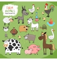 Set of hand-drawn farm animals vector image