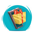 giftbox with bow mobile phone win present cartoon vector image vector image