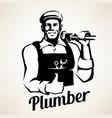 plumber service portrait retro emblem stylized vector image