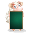 A shy sheep holding an empty blackboard vector image vector image