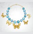 Necklace of golden butterflies vector image