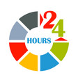 24 hours open color vector image
