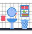 Bathroon Interior in Flat Style Washbasin Laundry vector image
