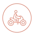 Man riding motorcycle line icon vector image