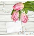 Tulip flowers on wood background EPS 10 vector image