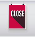 Close shopping door signs board vector image vector image