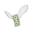 dollar with wings vector image vector image