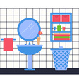 Bathroon Interior in Flat Style Washbasin Laundry vector image