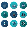 flat icons set of industrial fishing vector image