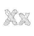 Letter x made of flowers vector image