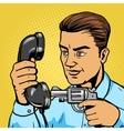Man aim gun to handset pop art vector image