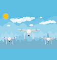 remote controlled aerial drone in sky vector image