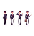 set of businessmen in standing poses rear and vector image
