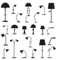 Set of icons of table lamps vector image