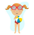 young little girl holding inflatable ball isolated vector image