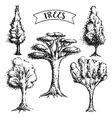 collection of vintage grunge trees vector image
