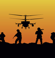 soldiers going to attack and helicopters vector image