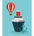 cruise ship with anchor and hot air balloon icon vector image