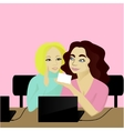 Girls talk at job vector image vector image