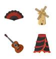 fan spanish mill guitar skirt for national vector image