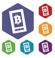 Bitcoin screen hexagon icon set vector image vector image