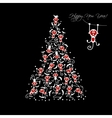 Christmas tree with funny monkeys for your design vector image