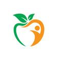 apple leaf people sign logo vector image