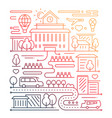 City life - line design composition - color vector image