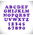 english alphabet and numerals from purple violet vector image