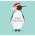 King Penguin Santa red hat Emperor Aptenodytes vector image