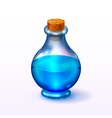 Round glass corked bottle with vector image