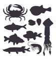 seafood set black silhouette with crab fish vector image