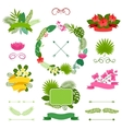 Set of tropical plants wreath ribbons and labels vector image
