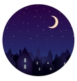 Silhouette of city and night sky with stars moon vector image