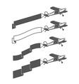 Vintage small aircraft dragging blank ribbon vector image