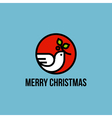 Christmas dove of peace with holly branch vector image